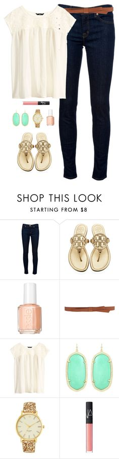 """first day of school"" by classically-preppy ❤ liked on Polyvore featuring J Brand, Tory Burch, Essie, Ganni, H&M, Kendra Scott, Kate Spade and NARS Cosmetics"