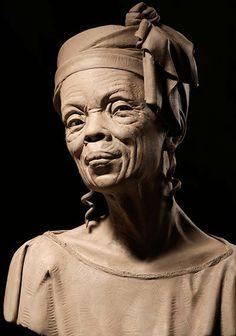 Sunday Mornin' Stone Sculpture, Full Figure Portrait Sculpting by Philippe Faraut Portrait Sculpture, Sculpture Clay, Stone Sculptures, Ceramic Sculptures, Abstract Sculpture, Bronze Sculpture, African American Art, Clay Art, Oeuvre D'art