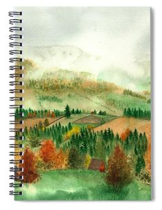Transylvanian Autumn Spiral Notebook featuring the painting Transylvanian Autumn by Olivia C