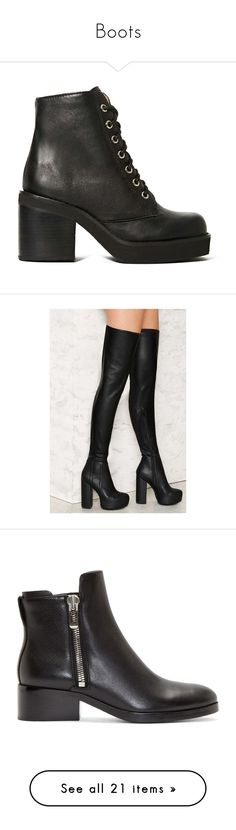 """""""Boots"""" by ana-bieber ❤ liked on Polyvore featuring shoes, boots, ankle booties, heels, black, black platform booties, black heeled booties, high heel ankle booties, lace up booties and black booties"""
