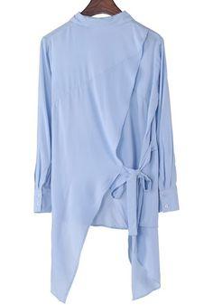 Blue Swallowtail Turndown Collar Long Sleeve Cotton Blouse