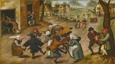 A Village Street with Peasants Dancing - Pieter Brueghel the Younger - The Athenaeum