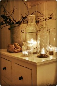 cozy white candlelight