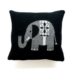 Lambswool black elephant cushion 35cm