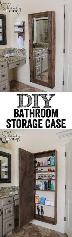 half bath - idea of long mirrored storage chest (much prefer it between studs)