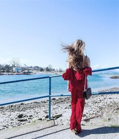 Enjoying the first beach day of the year wearing this lovely red off-the-shoulder frill jumpsuit which was perfect for the nicer spring weather  Make sure to check out my outfit deets on the blog  link in bio!  Happy Monday!