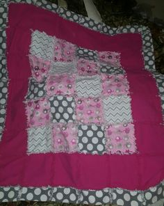 Polka dot and pink elephant rag quilt for sweet baby girl.