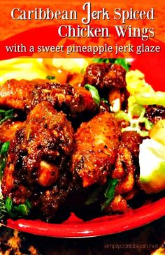 Caribbean Jerk Spiced Chicken Wings is so damn finger licking gorgeous Jerk Chicken Wings, Chicken Wing Sauces, Cooking Chicken Wings, Sauce For Chicken, Chicken Spices, Chicken Wing Recipes, Baked Chicken, Carribean Jerk Chicken, Caribbean Recipes