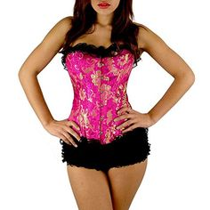 iecool Womens Sexy Pink  Gold Victorian Corset With Black Lace Trim XxLarge Rose >>> Click image to review more details.