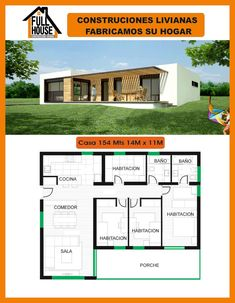 Full House Prefabricados Little House Plans, Small Modern House Plans, Beautiful House Plans, Dream House Plans, Modern Bungalow House, Bungalow House Plans, Three Bedroom House Plan, Flat Roof House, Casas Containers