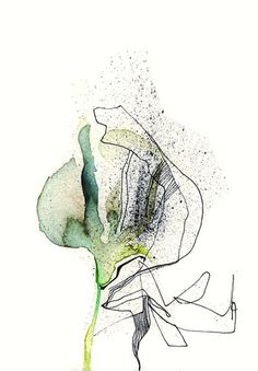 Greenflower Abstract Flowers, Abstract Watercolor, Watercolor And Ink, Watercolor Flowers, Watercolor Paintings, Nature Sketch, Tinta China, Guache, Alcohol Ink Art