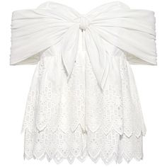 Sea - Belle Eyelet Lace Strapless Ruffled Top ($325) ❤ liked on Polyvore featuring tops, blouses, off shoulder blouse, white off shoulder top, white blouse, white tie front blouse and off the shoulder tops