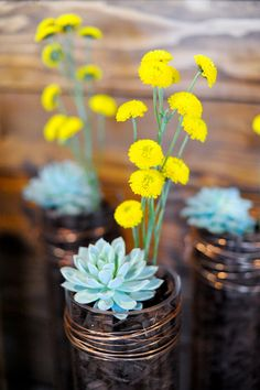 succulents + pops of yellow // photo by Alders Photography // florals by Adalyn Roberts // View more: http://ruffledblog.com/industrial-los-angeles-wedding/