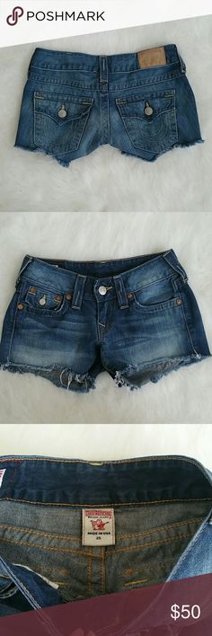 True Religion Joey Cut Off Shorts • Size 25 100% authentic gently used True Religion Joey denim shorts. Only worn a few times & have been washed. Shorts are cut-off style. Not altered in any way. Size 25. No stains or rips. There are signs of light wear at the bottom where the light fraying is & back label is a bit faded. Both are shown in photos. No odors. This item has been described as accurately as possible. Frivolous cases are NOT OKAY. For my protection & yours, I record packaging…