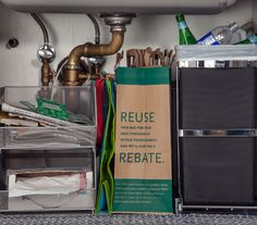 I like the recycling bin. Easy Under-the-Sink Storage Ideas