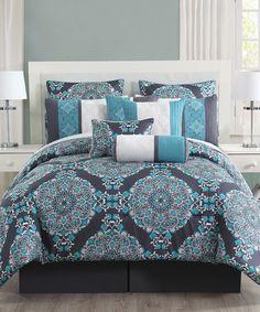 Look at this #zulilyfind! Charcoal & Teal Justine Comforter Set #zulilyfinds