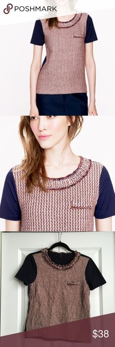 """J.Crew Tweed Front Tee - Size Small A ladylike tweed in an easy tee silhouette that mixes a supercomfortable cotton jersey back and a hand-frayed trim for a striking blend of luxe and laid-back. (Translation: perfect for work, the weekend and everything in between.) Cotton and silk/cotton. Measures 17"""" across and 21"""" in length. Thick Tweed Front with soft navy blue solid back. About and 1"""" longer in the back.  Gently signs of wear but still in good condition.  From a smoke free home. J. Crew…"""