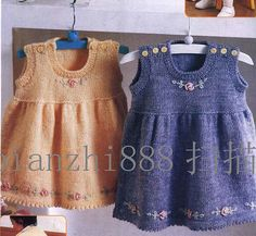 Simple baby dresses, embellished with embroidery ~~ Örgü Bebek Elbiseleri…