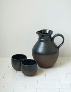 Wine Jug - Wine Carafe - Whiskey Jug - Whiskey Decanter - Handmade Stoneware Pitcher  - Black Pottery - Ceramic Pitcher and Cups by SoulVesselDesigns on Etsy https://www.etsy.com/listing/214651052/wine-jug-wine-carafe-whiskey-jug-whiskey