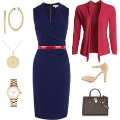 Blue and red work wardrobe