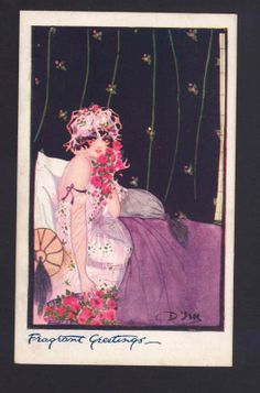Lady Lounging in Bed with Come Hither Look Roses Art Deco Style Old Postcard | eBay