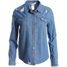 Sans Souci Distressed denim button down shirt ($34) ❤ liked on Polyvore featuring tops, denim, distressed top, long sleeve button up shirts, blue top, button up shirts and shirt top