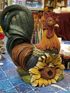 Cerámica de cocina Ceramic Bisque, Ceramic Clay, Ceramic Painting, Polymer Clay Projects, Polymer Clay Creations, Rooster Images, Transfer Images To Wood, Chicken Crafts, Plaster Art