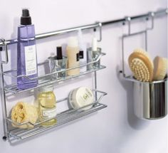 Above the shower wall, instead of all around in the corners  http://www.apartmenttherapy.com/10-small-space-storage-solutions-for-the-bathroom-169686