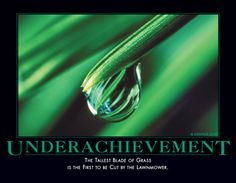 Underachievement - The tallest blade of grass is the first to be cut by the lawnmower. Demotivators. :)