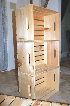 how to make shelves out of wooden crates tutorial via apartment therapy