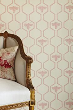 Barneby Gates - Honey Bees - Rose On Stone            Honey Bee wallpaper / gilt chair