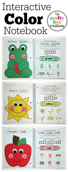 This is an Interactive Color Notebook that has crafts, writing, and color recognition for 11 different colors. Makes for a great end of the year piece! Toddler Learning Activities, Color Activities, Educational Activities, Kids Learning, Preschool Colors, Teaching Colors, Preschool Activities, Feelings Preschool, Preschool Journals