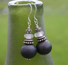 Grey Earrings, Lampwork Glass, Sterling Silver by InspiredTheory on Etsy https://www.etsy.com/listing/193775478/grey-earrings-lampwork-glass-sterling