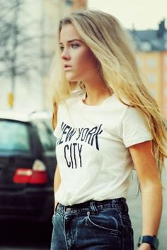 Cute casual fashion with denim and t-shirt... click on pic for more