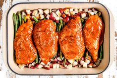 Honey Mustard Chicken baked with potatoes and green beans in ONE PAN for a flavor bursting meal-in-one OR just bake the chicken for a super easy dinner! Meat Recipes, Chicken Recipes, Cooking Recipes, Healthy Recipes, Turkey Recipes, Healthy Food, Recipies, Chicken Green Beans, Green Beans And Potatoes
