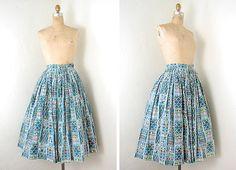 vintage 50s ethnic print circle skirt