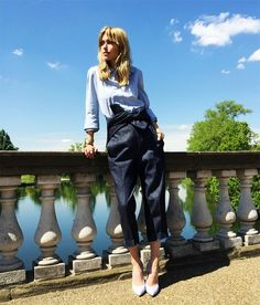 Button up + Paperbag trousers + Heels for fashion forward work outfit for spring and summer