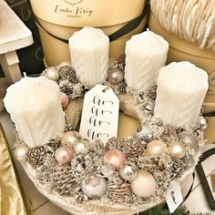 Xmas Wreaths, Just Married, Advent, Christmas Ideas, Candles, Table Decorations, Diy, Gifts, Christmas Candles