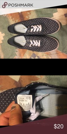 bbd0831575d Size 7 American eagle slip on shoes Super cute polka dot shoes. Worn once  indoors American Eagle by Payless Shoes Flats   Loafers