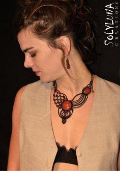 Macrame Necklace, Macrame Jewelry, Washer Necklace, Crochet Necklace, Micro Macramé, Bracelets, Knots, Handmade Jewelry, Fashion Jewelry