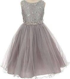 Little Girls Gorgeous Shiny Tulle Beaded Sequin Flowers Girls Dresses Silver 4