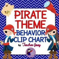 """Pirate Theme Behavior Chart Behavior Clip Chart Chevron This  set will surely match your Pirate -Themed classroom!This behavior clip chart  is designed with chevron and  pirate clip art and comes in two sizes - whole-page and half page. I also made headers for your """"reflection"""" corner."""