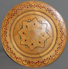Vintage hand made pyrography wood plate by MODERNANDVINTAGEART