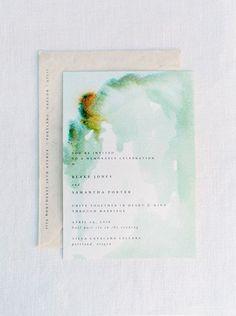 Watercolor invitations #green #simple @brow