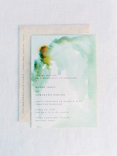 Watercolor invitations #green #simple @brow