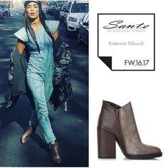 Katerina Stikoudi (@stikoudikaterin) in SANTE Booties styling by Michael Tsoukas (@michael_tsoukas) #SanteFW1617 #CelebritiesinSante Available in stores & online (SKU-93431): www.santeshoes.com