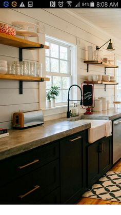 Supreme Kitchen Remodeling Choosing Your New Kitchen Countertops Ideas. Mind Blowing Kitchen Remodeling Choosing Your New Kitchen Countertops Ideas. Black Kitchen Cabinets, Black Kitchens, Kitchen Shelves, Kitchen Redo, New Kitchen, Cool Kitchens, Open Shelves, Kitchen Black, Shiplap In Kitchen