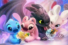 """Crossover:Stitch & Dragones de Berk Characters:Stitch,Angel,Toothless & Light… ""Crossover:Stitch & Dragones de Berk Characters:Stitch,Angel,Toothless & Light Fury…"" This image has. Lilo Y Stitch, Cute Stitch, Disney Stitch, Cute Disney Drawings, Cute Animal Drawings, Cute Disney Wallpaper, Cartoon Wallpaper, Toothless And Stitch, Stitch And Angel"