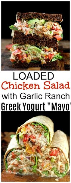 """Diet Plan To Lose Weight t: Illustration Description LOADED Chicken Salad with Creamy Greek Yogurt Garlic Ranch """"Mato"""". The best chicken salad you might ever have! Healthy Recipes, Lunch Recipes, Salad Recipes, Cooking Recipes, I Love Food, Good Food, Yummy Food, Tasty, Onigirazu"""