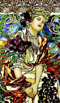 Soap Box Girls, inspired by Mucha | by Stained Glass Painter / Jim M. Berberich